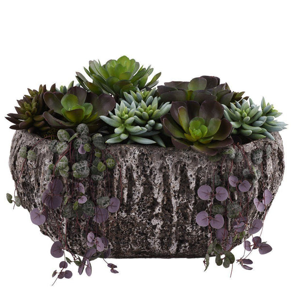 Artificial Earthy Succulent Arrangement, Faux Earthy Succulent Arrangement, Fake Earthy Succulent Arrangement  - Bloomr