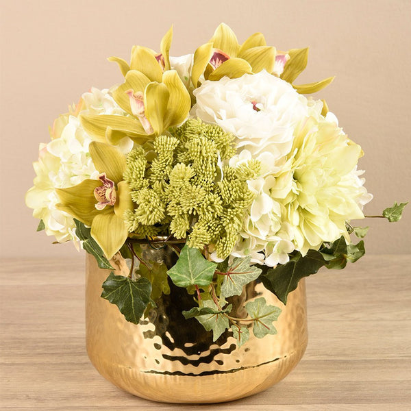 Artificial Artificial Floral Arrangement in Gold Vase, Faux Artificial Floral Arrangement in Gold Vase, Fake Artificial Floral Arrangement in Gold Vase  - Bloomr