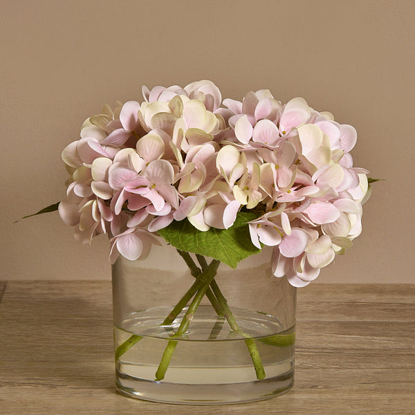 Bloomr-USA Flowers Artificial Hydrangea Arrangement in Glass Vase artificial flowers artificial trees artificial plants faux florals