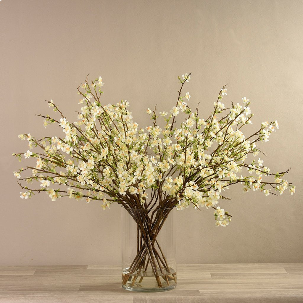 Artificial Blossom Spray Arrangement in Glass Vase, Faux Blossom Spray Arrangement in Glass Vase, Fake Blossom Spray Arrangement in Glass Vase  - Bloomr