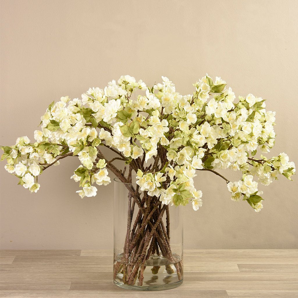 Artificial Blossom Spray in Glass Vase, Faux Blossom Spray in Glass Vase, Fake Blossom Spray in Glass Vase  - Bloomr
