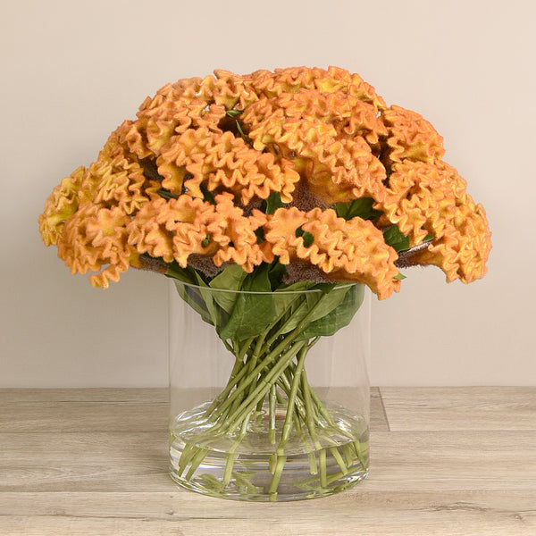 Bloomr-USA Flowers Celosia Arrangement in Glass Vase artificial flowers artificial trees artificial plants faux florals