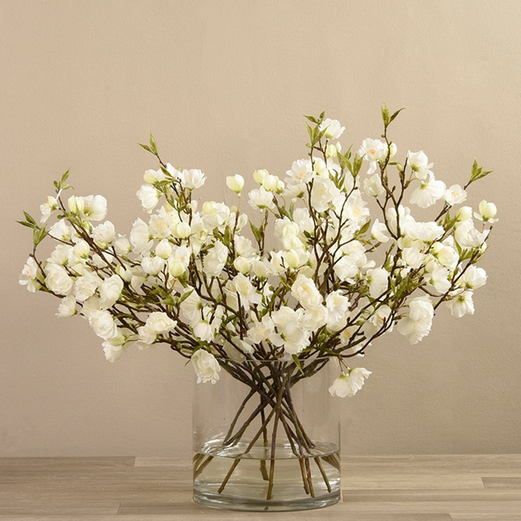 Artificial Cherry Blossom Arrangement in Glass Vase, Faux Cherry Blossom Arrangement in Glass Vase, Fake Cherry Blossom Arrangement in Glass Vase  - Bloomr