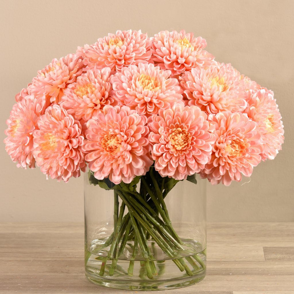 Artificial Chrysanthemum in Glass Vase, Faux Chrysanthemum in Glass Vase, Fake Chrysanthemum in Glass Vase  - Bloomr