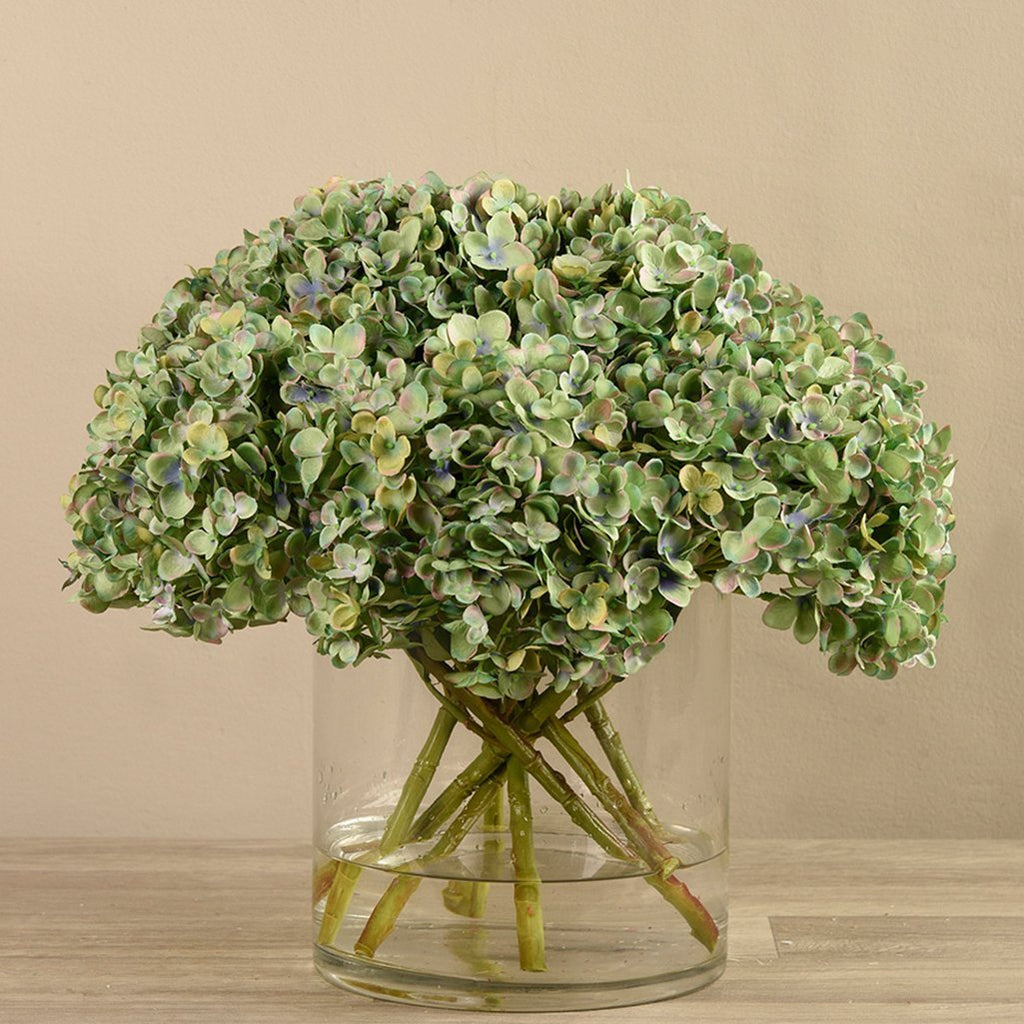 Bloomr-USA Flowers Hydrangea in Glass Vase artificial flowers artificial trees artificial plants faux florals