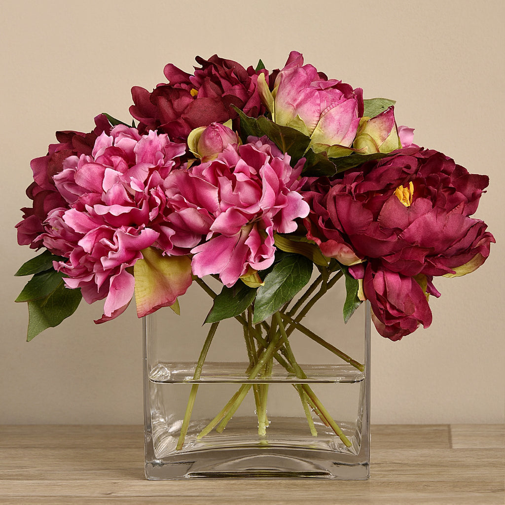 Bloomr-USA Flowers Large Peony Arrangement in Glass Vase artificial flowers artificial trees artificial plants faux florals