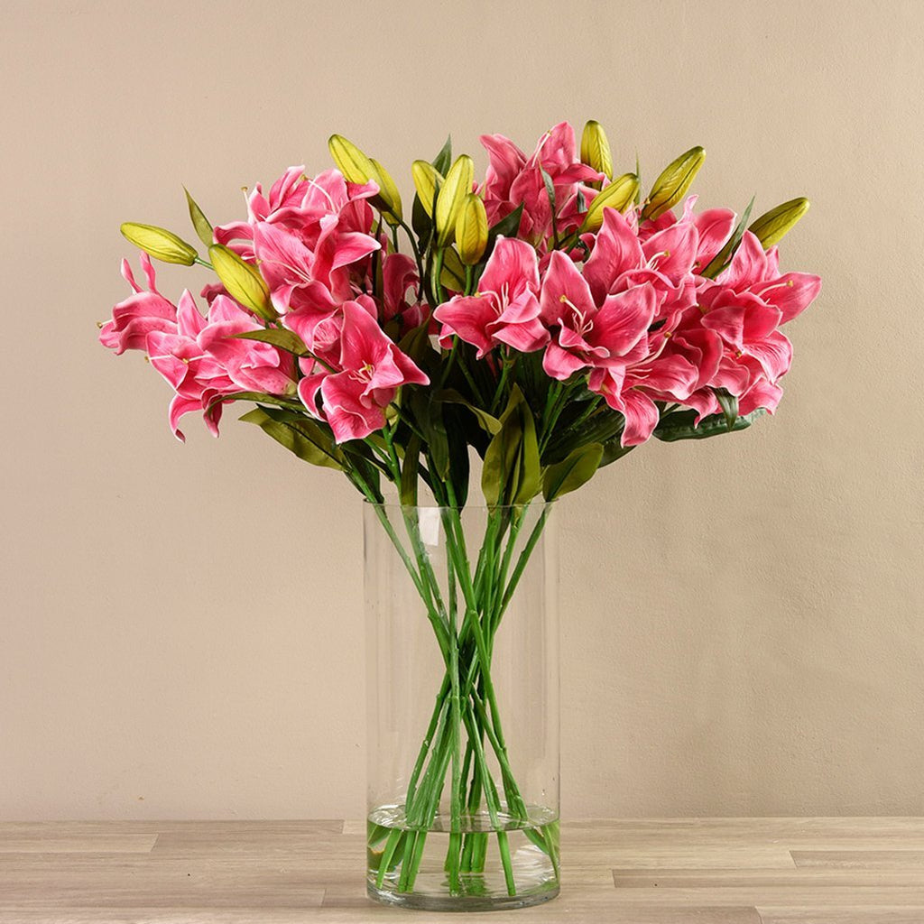 Bloomr-USA Flowers Lily Arrangement in Glass Vase artificial flowers artificial trees artificial plants faux florals