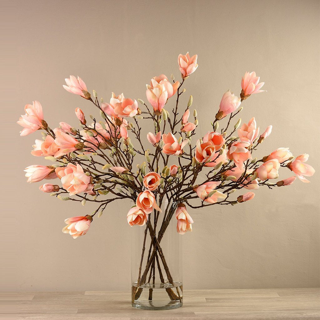 Bloomr-USA Flowers Magnolia in Glass Vase artificial flowers artificial trees artificial plants faux florals