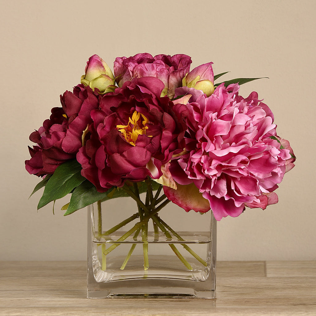 Bloomr-USA Flowers Medium Peony Arrangement in Glass Vase artificial flowers artificial trees artificial plants faux florals