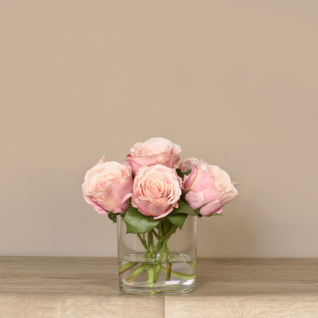 Rose Arrangement in Glass Vase