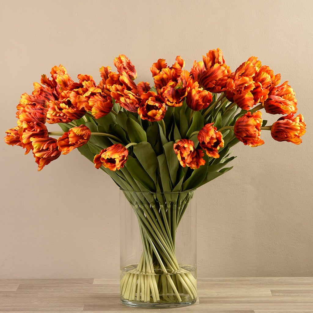 Bloomr-USA Flowers Parrot Tulip Arrangement in Glass Vase artificial flowers artificial trees artificial plants faux florals