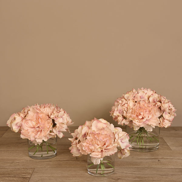 Bloomr-USA Flowers Peony & Hydrangea Arrangement in Glass Vase artificial flowers artificial trees artificial plants faux florals