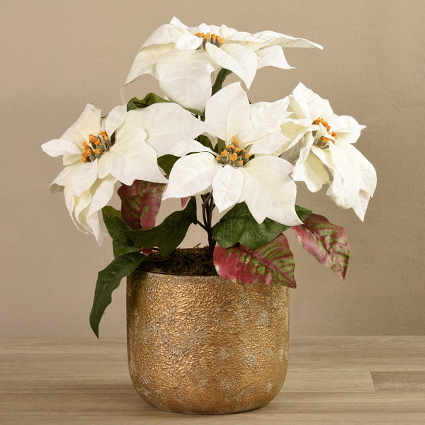 Bloomr-USA Flowers Poinsettias In Gold Pot artificial flowers artificial trees artificial plants faux florals