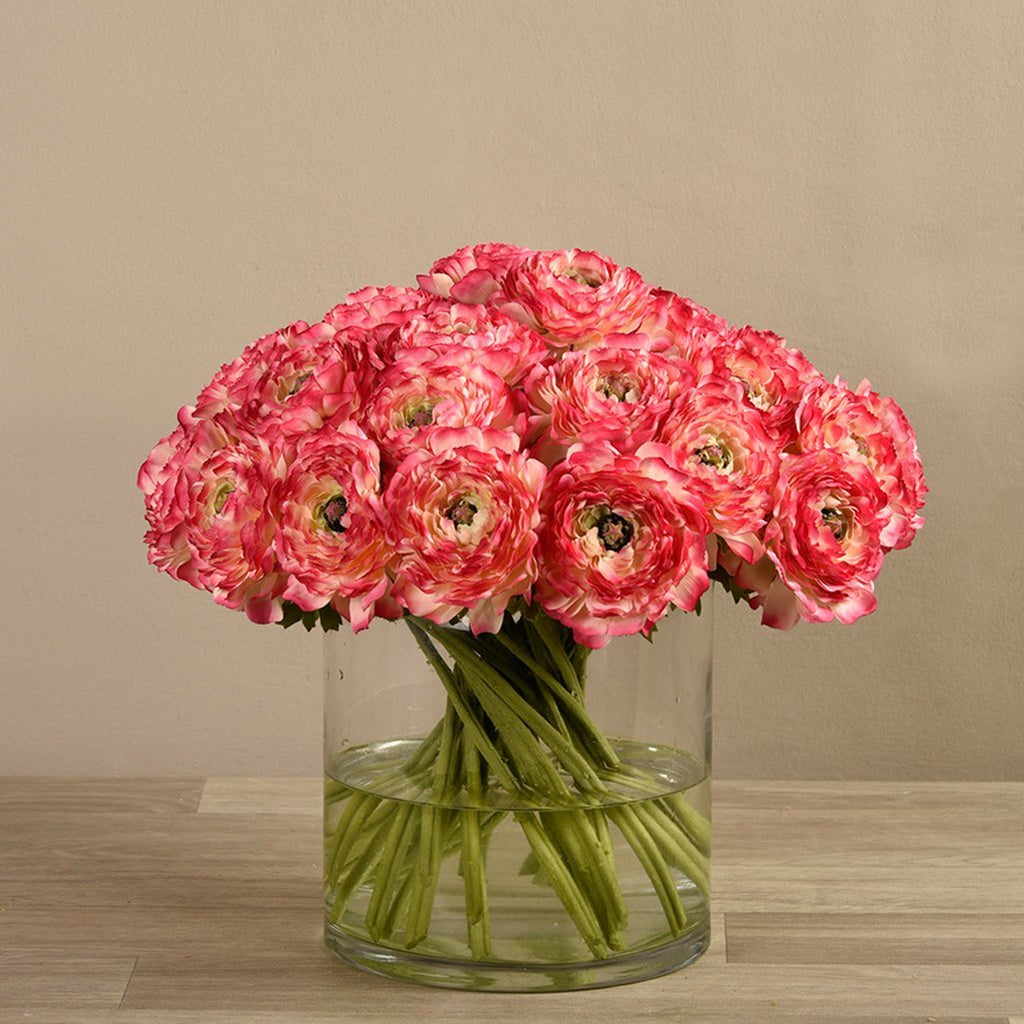 Bloomr-USA Flowers Ranunculus in Glass Vase artificial flowers artificial trees artificial plants faux florals