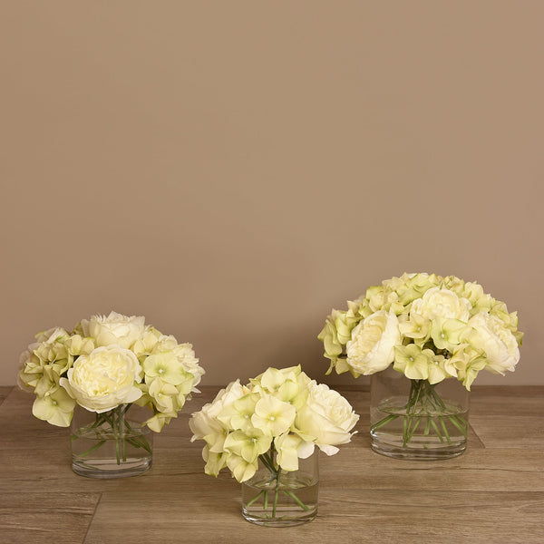 Bloomr-USA Flowers Rose & Hydrangea Arrangement in Glass Vase artificial flowers artificial trees artificial plants faux florals