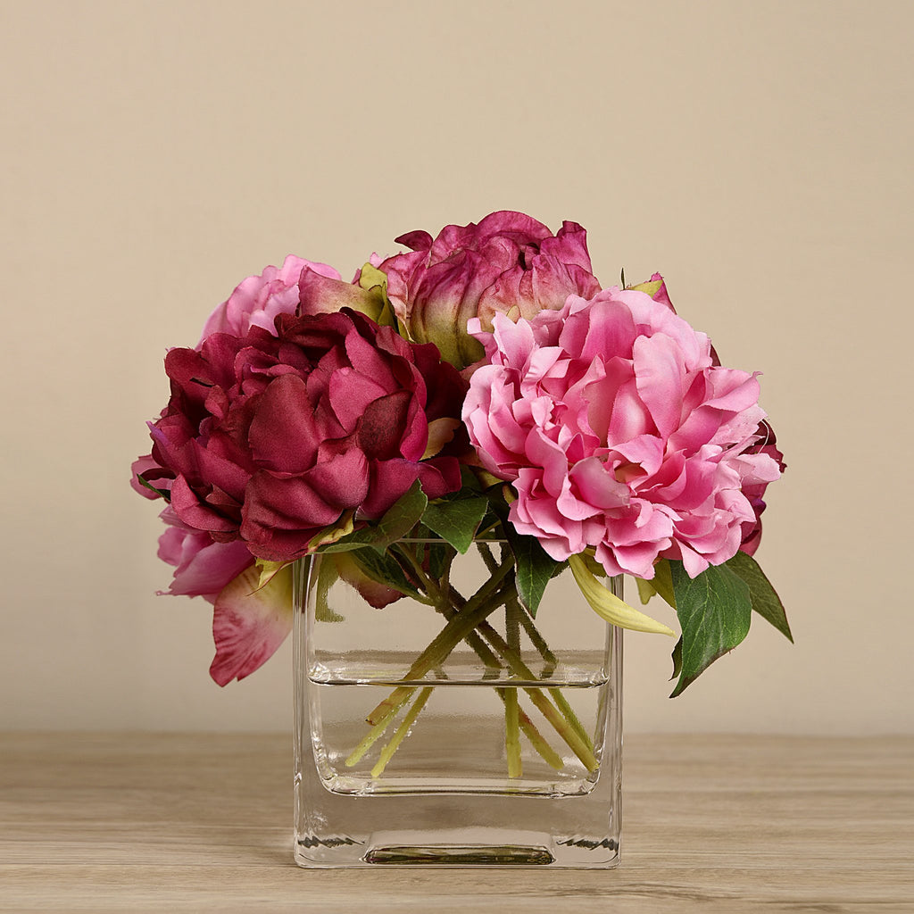 Bloomr-USA Flowers Small Peony Arrangement in Glass Vase artificial flowers artificial trees artificial plants faux florals