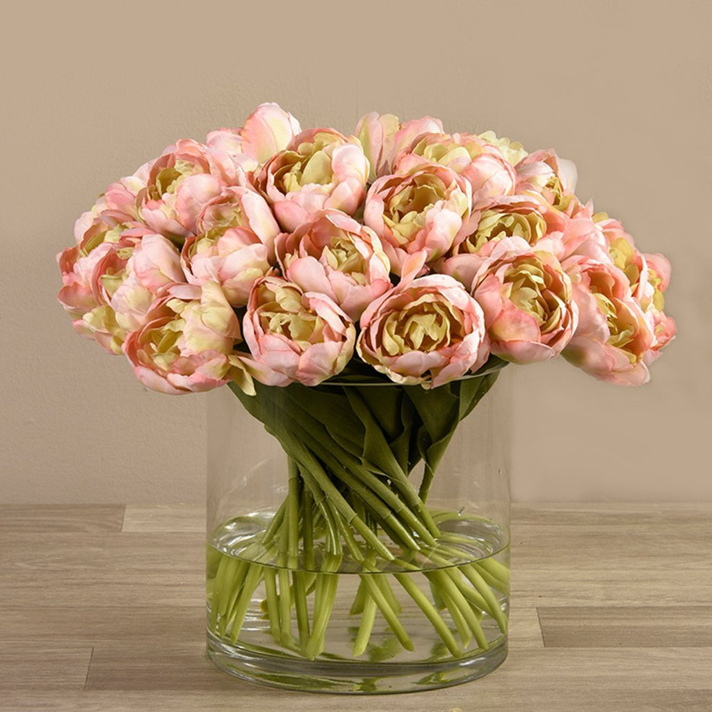 Bloomr-USA Flowers Tulip Arrangement in Glass Vase artificial flowers artificial trees artificial plants faux florals