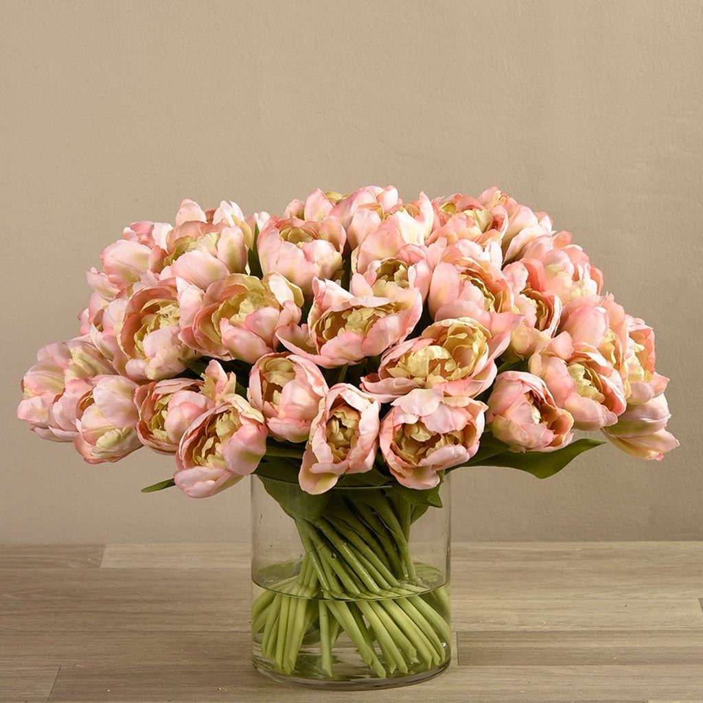 Bloomr-USA Flowers Tulip in Glass Vase artificial flowers artificial trees artificial plants faux florals