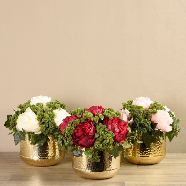 Bloomr-USA Flowers White Peony & Sedum Arrangement artificial flowers artificial trees artificial plants faux florals