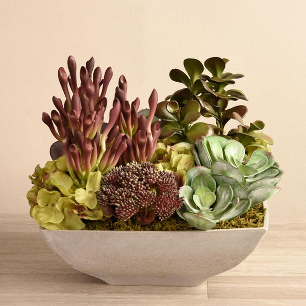 bloomr-usa Greenery Red Salvador Succulent Arrangement artificial flowers artificial trees artificial plants faux florals