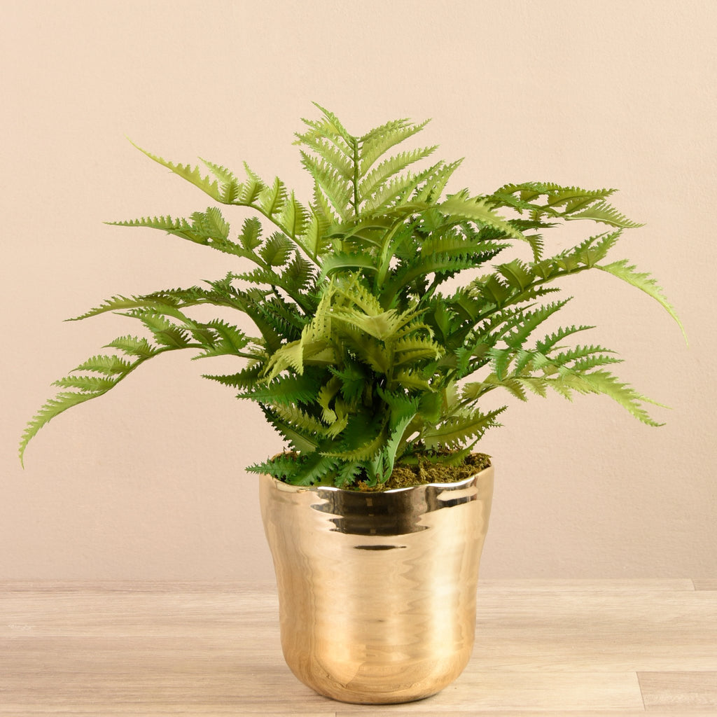 Artificial Fern in Gold Vase, Faux Fern in Gold Vase, Fake Fern in Gold Vase  - Bloomr