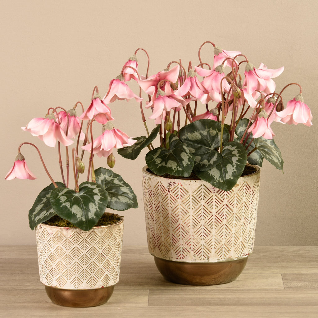 Bloomr-USA Plants Potted Cyclamen artificial flowers artificial trees artificial plants faux florals