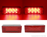 PeakTow  PTL0102 Deluxe 12V Rectangular Low Profile Submersible LED Trailer Light Kit Stop/Turn/Tail Lights For Trailer, RV, Truck, Snowmobile Over And Under 80 Inches
