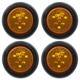 PEAKTOW PTL0252 Round LED Amber 2 Inches 12V Submersible Clearance Marker Tail Brake Stop Lights For Car Truck Van Trailer RV Boat Including Grommets and Plugs 4PK