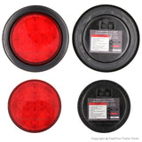 PEAKTOW PTL0401 Round Red 4 Inches LED Submersible Stop/Turn/Tail Lights Including Grommets and Plugs 2PK