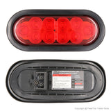 PEAKTOW PTL0431 Oval 6 Inches Red LED Submersible Stop/Turn/Tail Trailer Truck RV Lights Including Grommets and Plugs 2PK