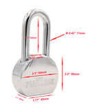 "PEAKLOCK PLA0012 Keyed Alike 2.5"" 64mm Solid Steel Round Long Shackle Padlock 6PK"