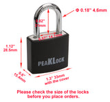 "PEAKLOCK PLA0102 Keyed Alike 1-3/16"" Wide Weatherproof Black Covered Aluminum Padlock 6PK"