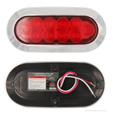 PEAKTOW PTL0435 Oval 6 Inches Red LED Submersible Stop/Turn/Tail Trailer Truck RV Lights Surface Mount 2PK