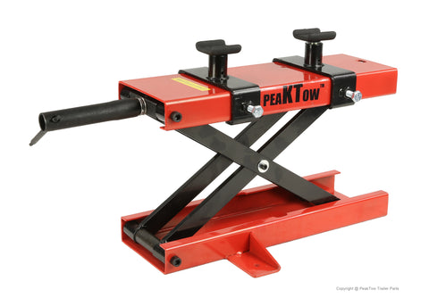 PeakTow  PTM0103 Heavy Duty 1100 LB Narrow Deck ATV Motorcycle Bike Scooter Scissor Lift Jack Crank Stand With Adapters