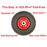 "PeakTow PTR0004 New 10"" Flat Free Solid 4.10/3.50-4"" Tire on Wheel for Dolly Handtruck Cart – 2PK"