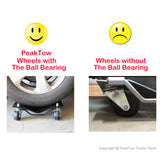PeakTow PTT0106 Black Heavy Duty 3000 LBs Total Capacity Tire Wheel Car Vehicle Dolly With Ball Bearing Caster Wheel Pack of 2