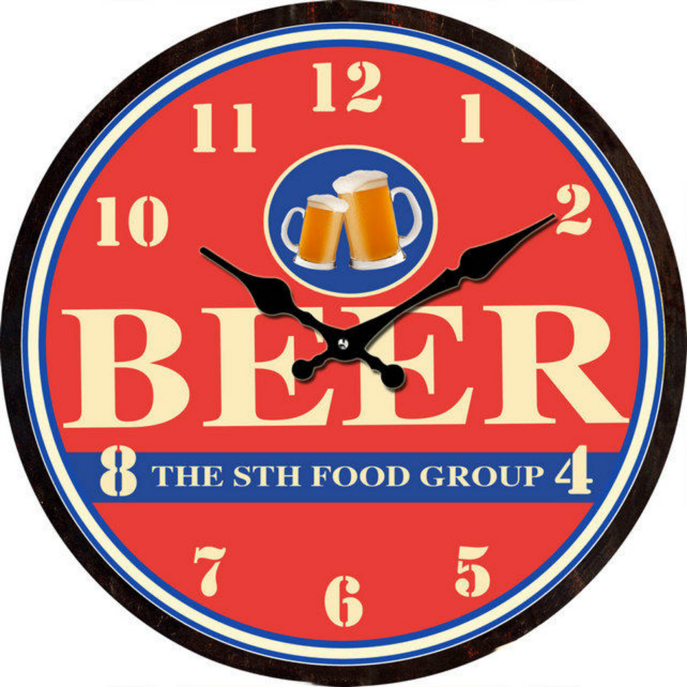 Beer the 8th Food Group Clock 30cm