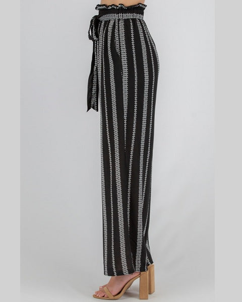 Cotton Printed Paper Bag Waist Pants