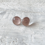 Cabochon Glass Stud Earrings – Pink 1
