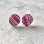 Cabochon Glass Stud Earrings – Pink 2