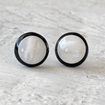 Cabochon Stud Earrings – BlackWhite 1