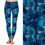 Blue Swirl Stars Printed Seamless Yoga Leggings