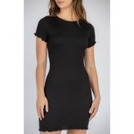 Rib Knit Fitted Dress Black