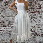White Shirred Top Dress