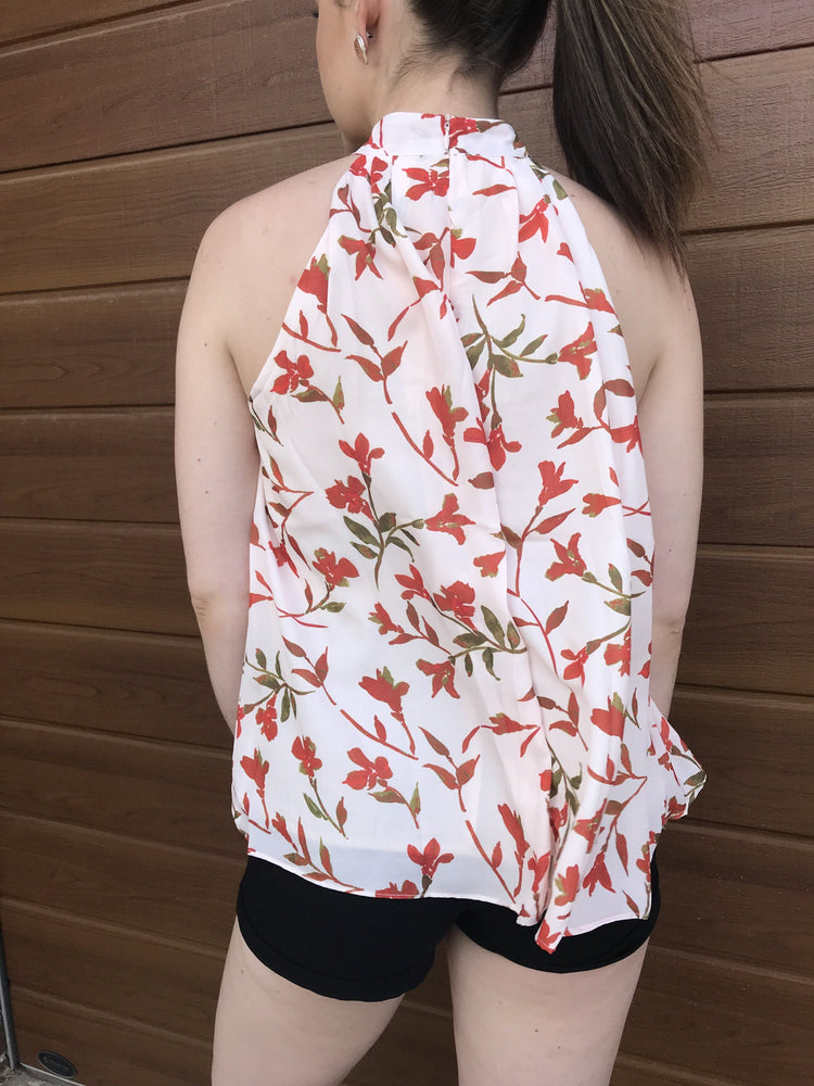 Spicy Sugar Blush Pink with Red Floral Womens Top