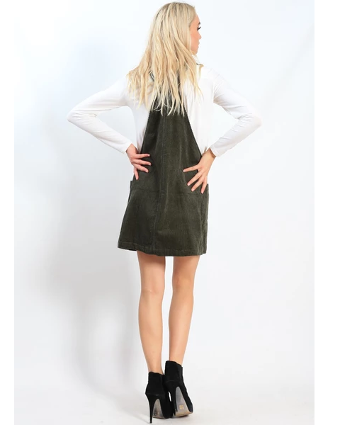 Khaki Pinafore Dress | Spicysugar | Brecha