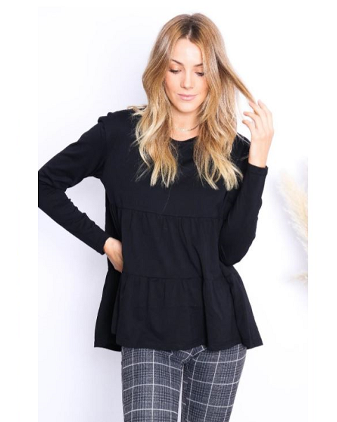 Society Addict Long Sleeve Ruffle Top