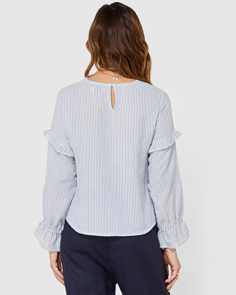 womens long sleeve top | White top | Stripe Blue and White top