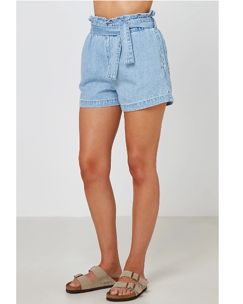 Nelly denim Short with elastic waistband and tie
