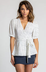 Polka Dot Short Bubble Sleeve Blouse Style State